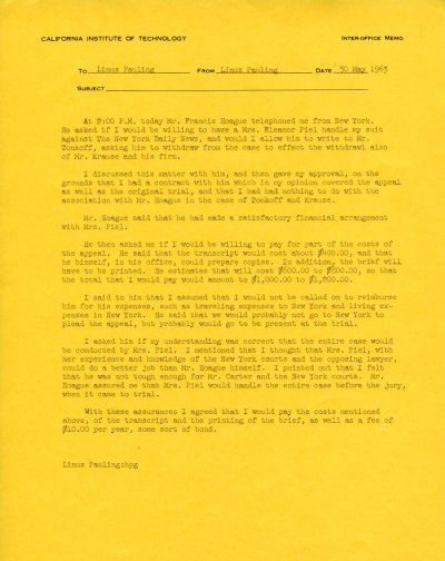 Notes re: Telephone conversation with Francis Hoague.Page 1. May 30, 1963