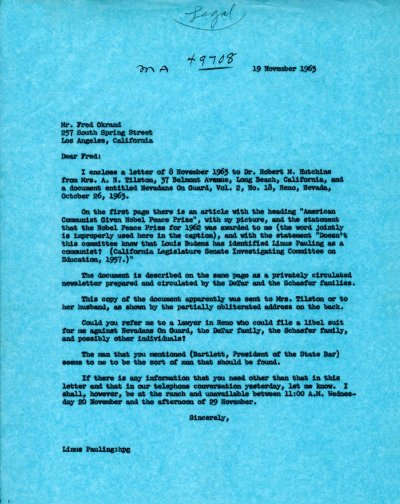 Letter from Linus Pauling to Fred Okrand.Page 1. November 19, 1963