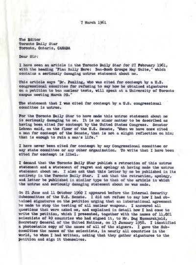 Letter from Linus Pauling to the Editor of the Toronto Daily Star. Page 1. March 7, 1961