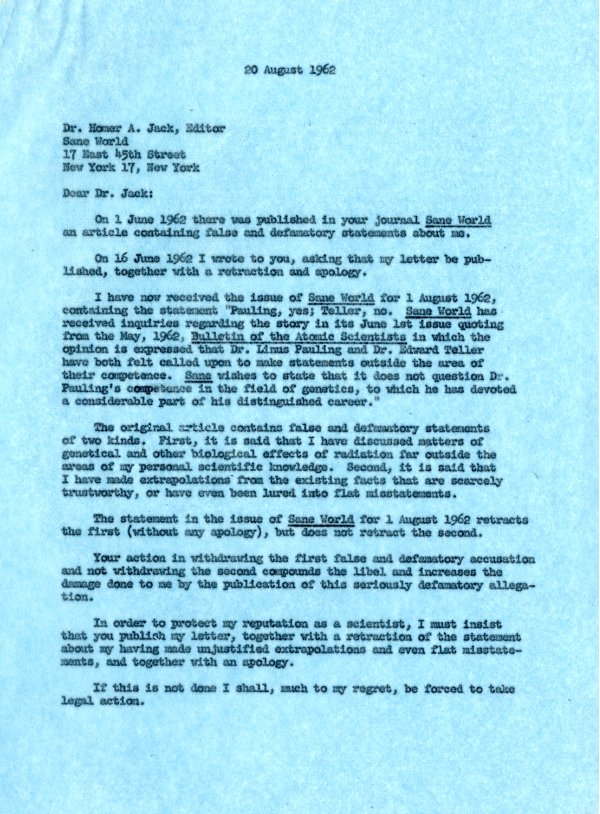 Letter from Linus Pauling to Homer Jack.Page 1. August 20, 1962