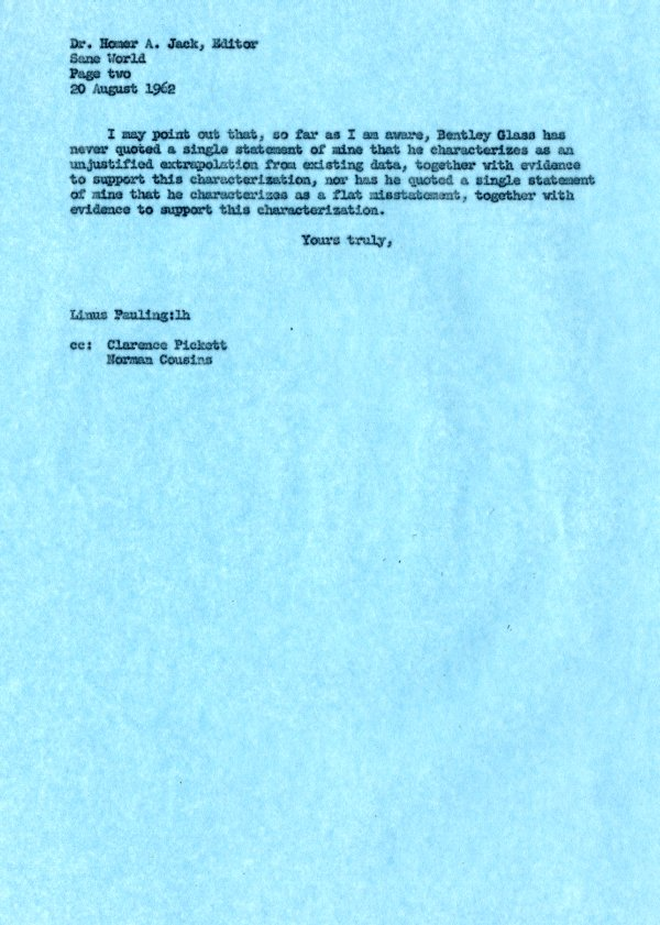 Letter from Linus Pauling to Homer Jack. Page 2. August 20, 1962
