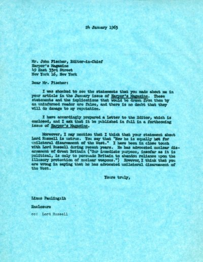 Letter from Linus Pauling to John Fischer. Page 1. January 24, 1963