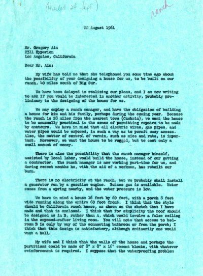 Letter from Linus Pauling to Gregory Ain. Page 1. August 22, 1961
