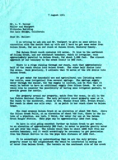 Letter from Linus Pauling to A. V. Muller. Page 1. August 7, 1961
