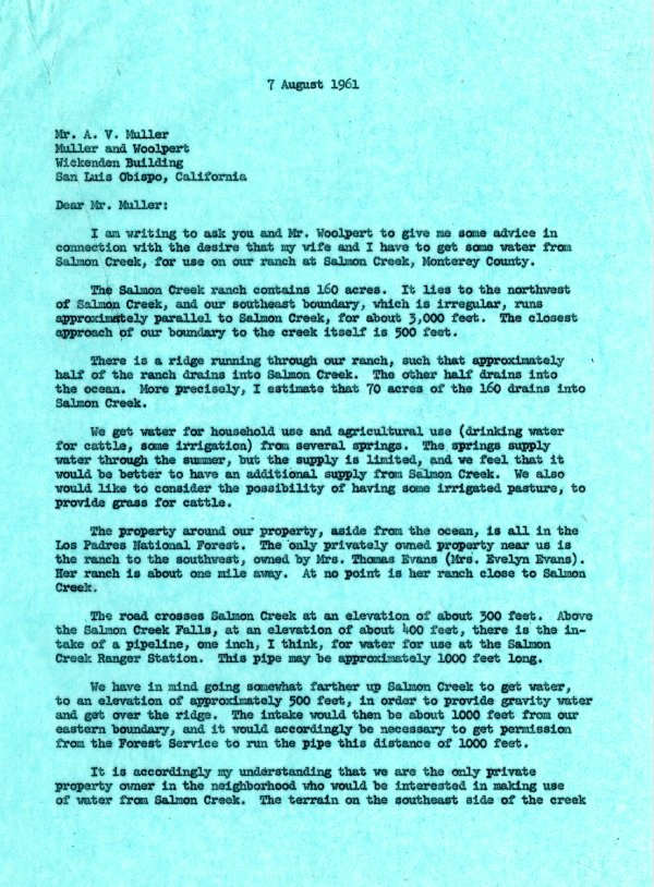 Letter from Linus Pauling to A. V. Muller.Page 1. August 7, 1961