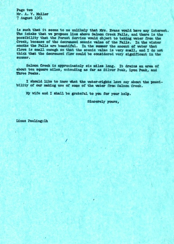 Letter from Linus Pauling to A. V. Muller.Page 2. August 7, 1961