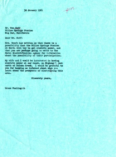 Letter from Linus Pauling to Tom Neff. Page 1. January 30, 1961