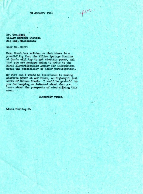 Letter from Linus Pauling to Tom Neff.Page 1. January 30, 1961
