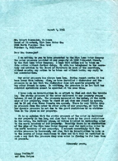 Letter from Linus Pauling to Robert Casamajor, Mira Loma Water Co.Page 1. September 7, 1951