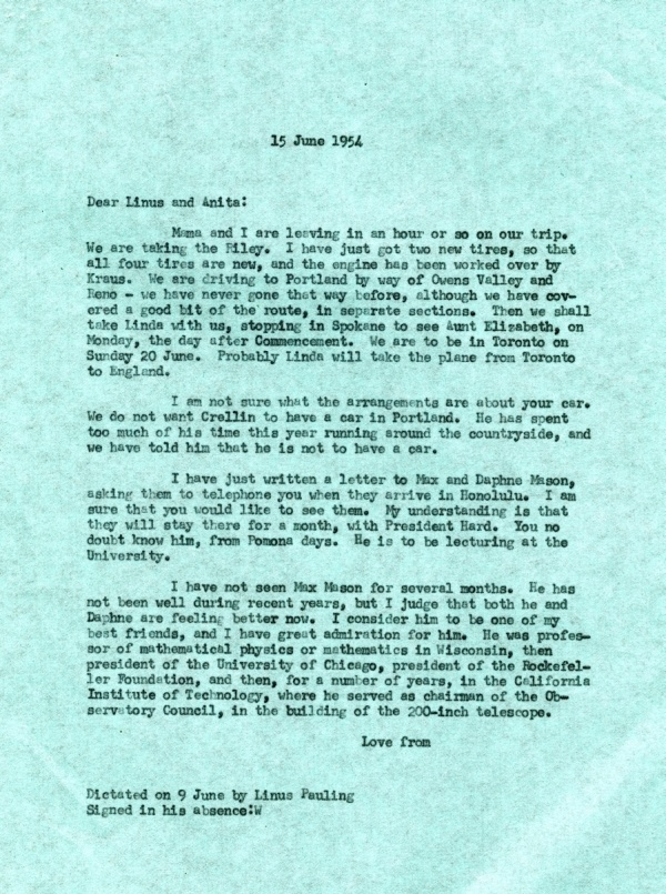 Letter from Linus Pauling to Linus Pauling, Jr.Page 1. June 15, 1954