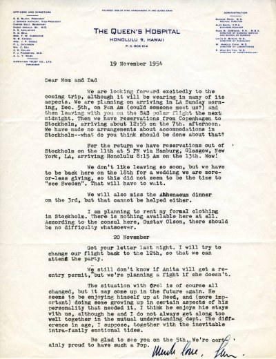 Letter from Linus Pauling, Jr. to Linus Pauling. Page 1. November 19, 1954