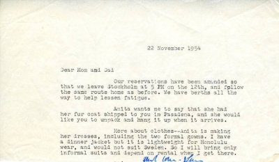 Letter from Linus Pauling, Jr. to Linus Pauling. Page 1. November 22, 1954