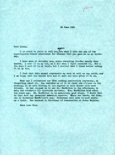 Letter from Linus Pauling to Linus Pauling, Jr. Page 1. June 26, 1961