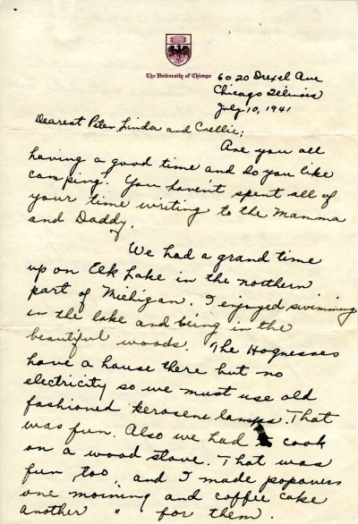 Letter from Ava Helen Pauling to Peter, Linda and Crellin Pauling. Page 1. July 10, 1941