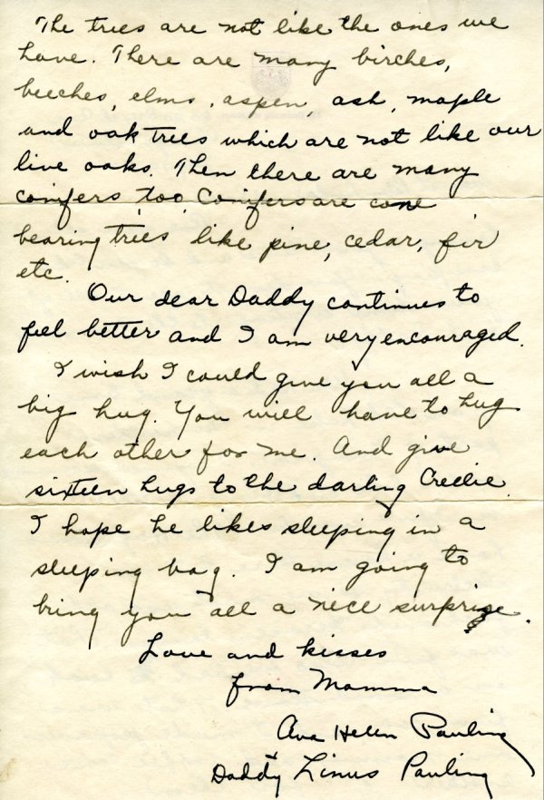 Letter from Ava Helen Pauling to Peter, Linda and Crellin Pauling.Page 2. July 10, 1941