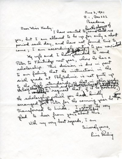 Letter from Linus Pauling to Grace Henley.Page 1. June 3, 1941