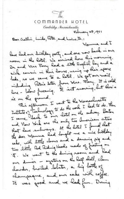 Letter from Linus Pauling to Linus, Jr., Peter, Linda and Crellin Pauling. Page 1. February 28, 1941