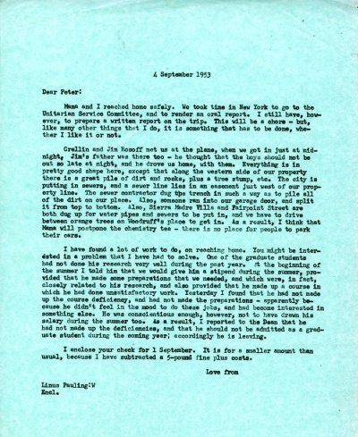 Letter from Linus Pauling to Peter Pauling.Page 1. September 4, 1953