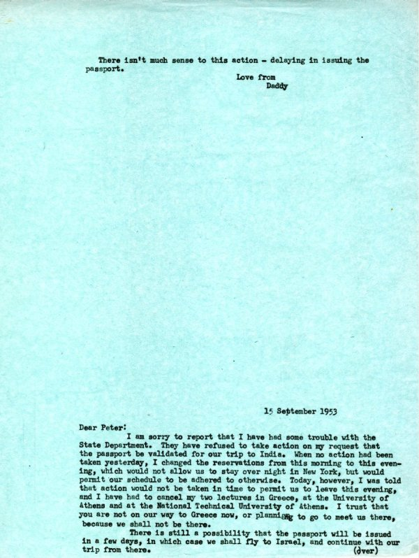 Letter from Linus Pauling to Peter Pauling.Page 1. September 15, 1953