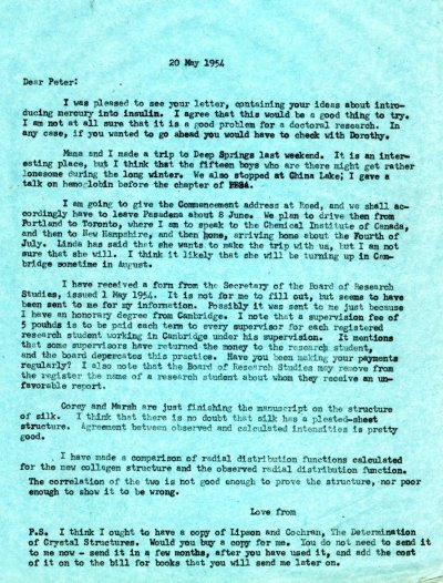Letter from Linus Pauling to Peter Pauling.Page 1. May 20, 1954