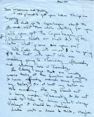 Letter from Peter Pauling to Ava Helen Pauling. Page 1. November 8, 1954