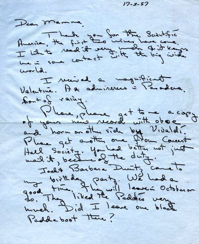 Letter from Peter Pauling to Ava Helen Pauling. Page 1. February 17, 1957