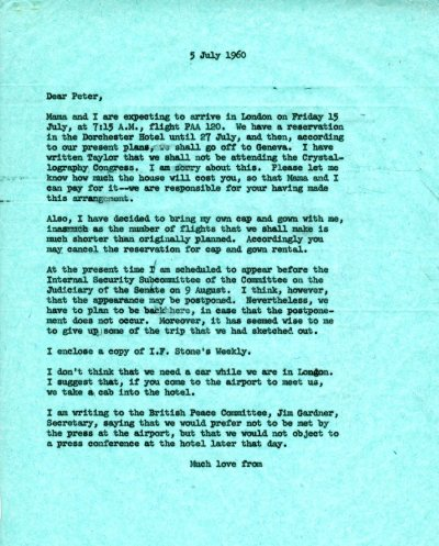 Letter from Linus Pauling to Peter Pauling. Page 1. July 5, 1960