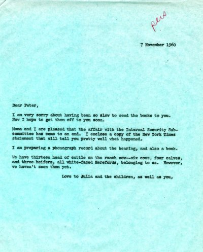 Letter from Linus Pauling to Peter Pauling. Page 1. November 7, 1960