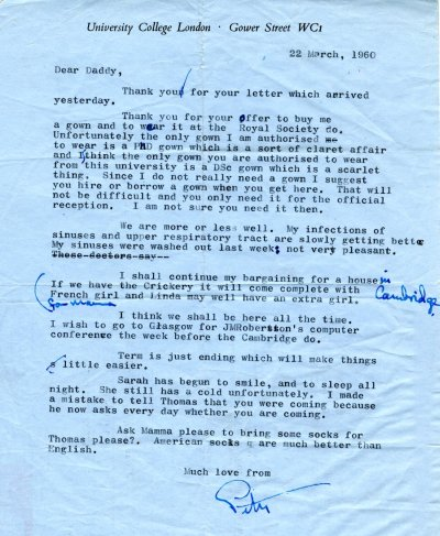 Letter from Peter Pauling to Linus Pauling. Page 1. March 22, 1960