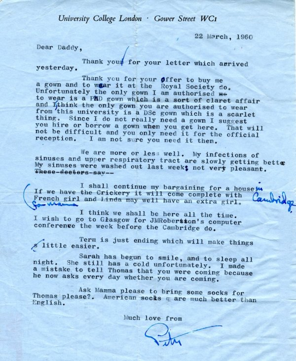 Letter from Peter Pauling to Linus Pauling.Page 1. March 22, 1960