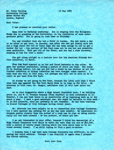 Letter from Linus Pauling to Peter Pauling. Page 1. May 14, 1963