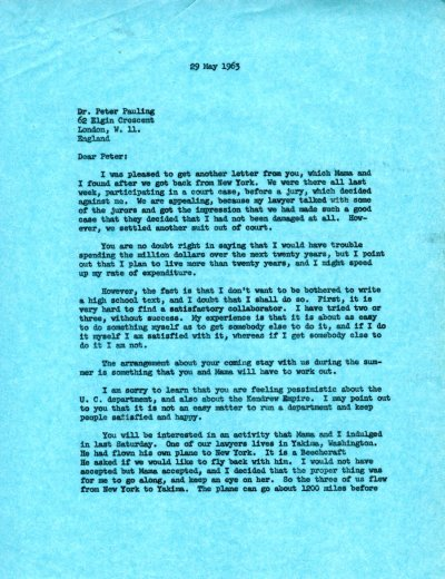 Letter from Linus Pauling to Peter Pauling.Page 1. May 29, 1963