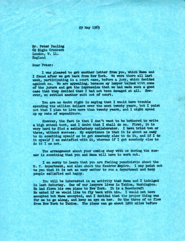 Letter from Linus Pauling to Peter Pauling. Page 1. May 29, 1963