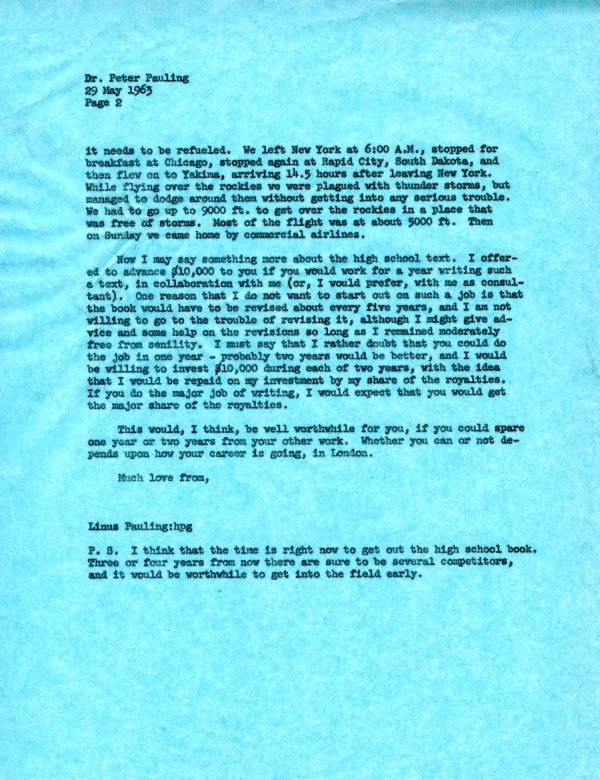 Letter from Linus Pauling to Peter Pauling. Page 2. May 29, 1963