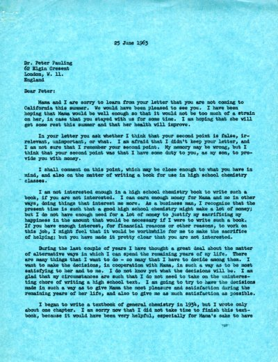 Letter from Linus Pauling to Peter Pauling. Page 1. June 25, 1963