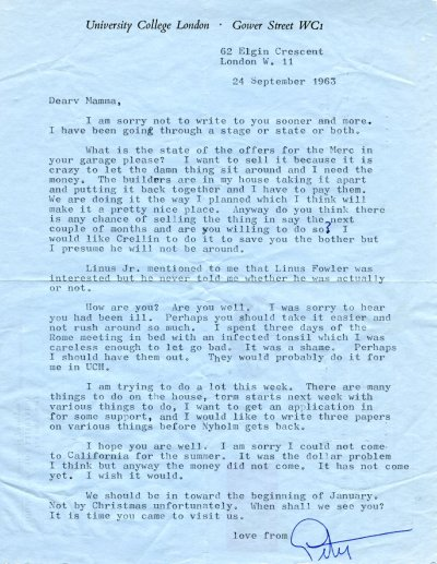 Letter from Peater Pauling to Ava Helen Pauling.Page 1. September 24, 1963