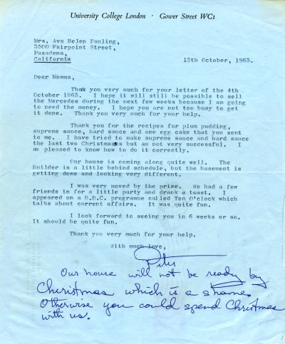 Letter from Peter Pauling to Ava Helen Pauling.Page 1. October 13, 1963