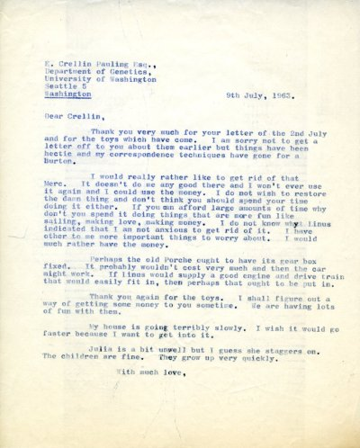 Letter from Peter Pauling to Crellin Pauling.Page 1. July 9, 1963