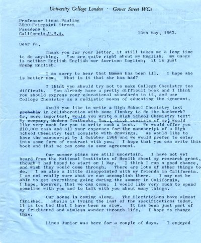 Letter from Peter Pauling to Linus Pauling. Page 1. May 12, 1963
