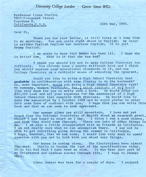 Letter from Peter Pauling to Linus Pauling.Page 1. May 12, 1963