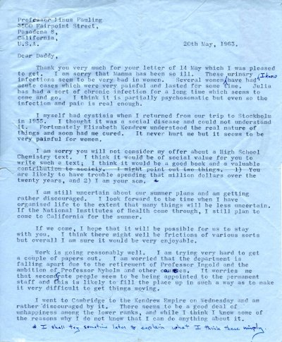 Letter from Peter Pauling to Linus Pauling. Page 1. May 20, 1963
