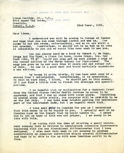 Letter from Peter Pauling to Linus Pauling, Jr.Page 1. March 22, 1963