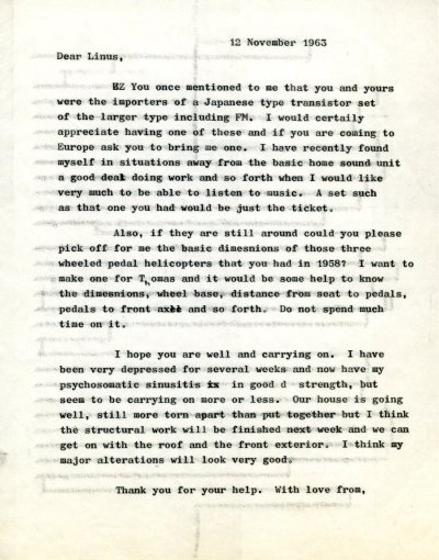 Letter from Peter Pauling to Linus Pauling, Jr. Page 1. November 12, 1963