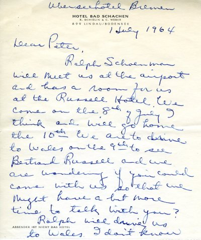 Letter from Ava Helen Pauling to Peter Pauling. Page 1. July 1, 1964