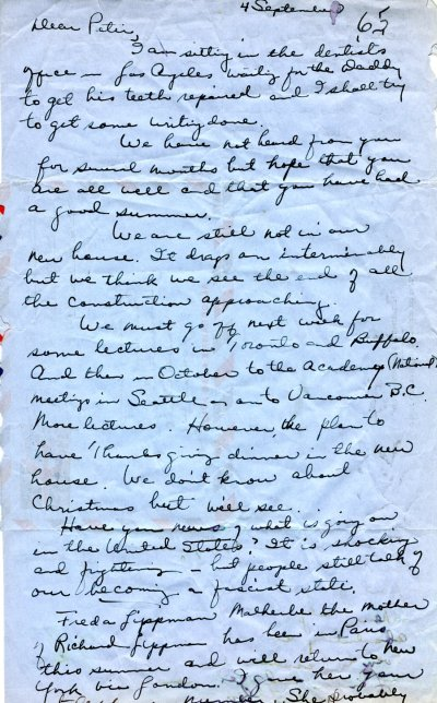 Letter from Ava Helen Pauling to Peter Pauling.Page 1. September 4, 1965