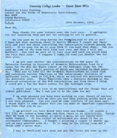 Letter from Peter Pauling to Linus Pauling. Page 1. October 28, 1965