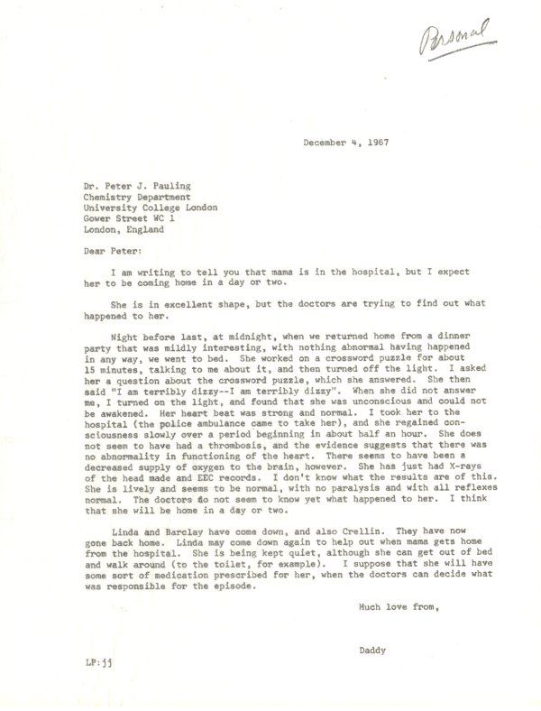 Memo from Linus Pauling to Peter Pauling. Page 1. December 4, 1967