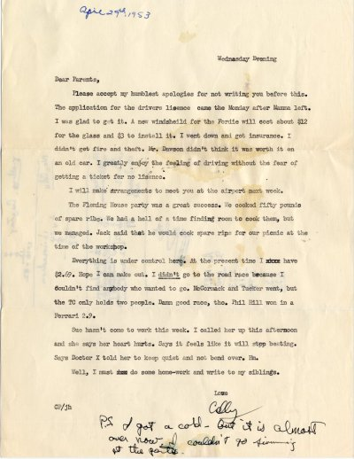 Letter from Crellin Pauling to Linus Pauling. Page 1. April 29, 1953