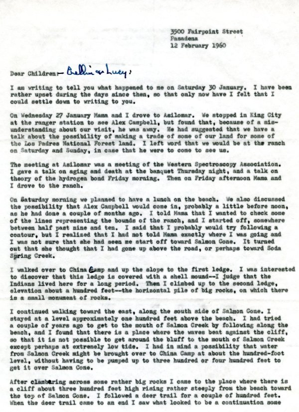 Letter from Linus Pauling to Linus Jr., Linda, Peter, Crellin and Lucy Pauling. Page 1. February 12, 1960