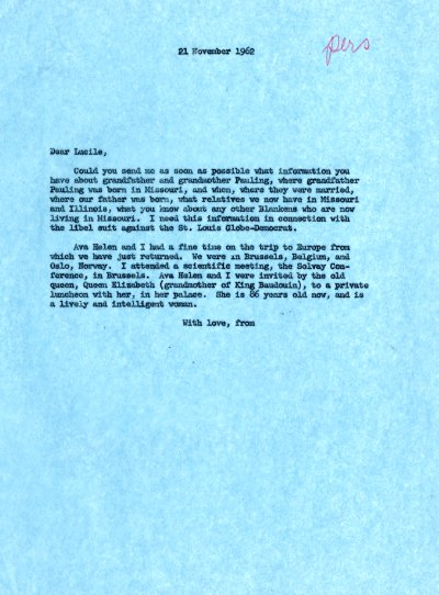 Letter from Linus Pauling to Lucile Jenkins. Page 1. November 21, 1962